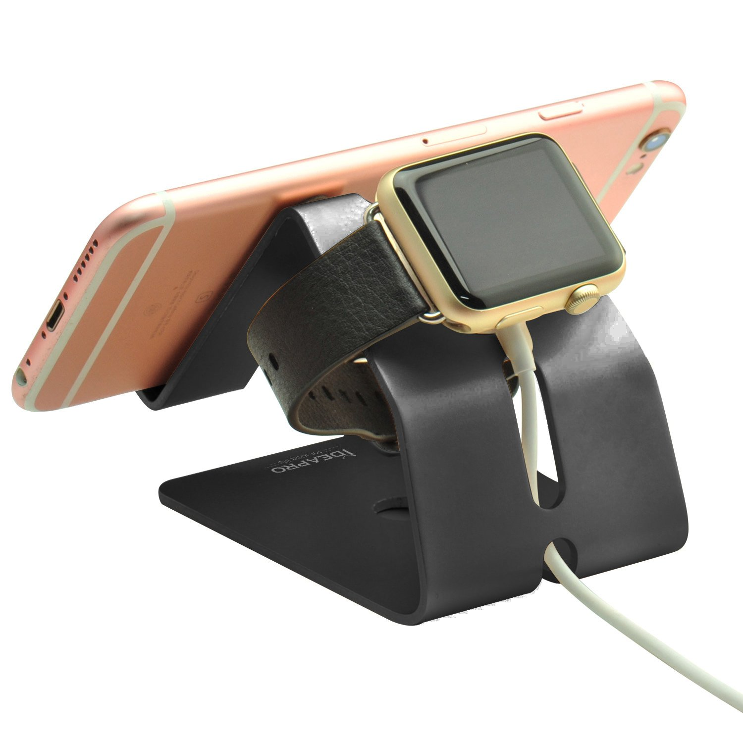 bended Apple device charging stand