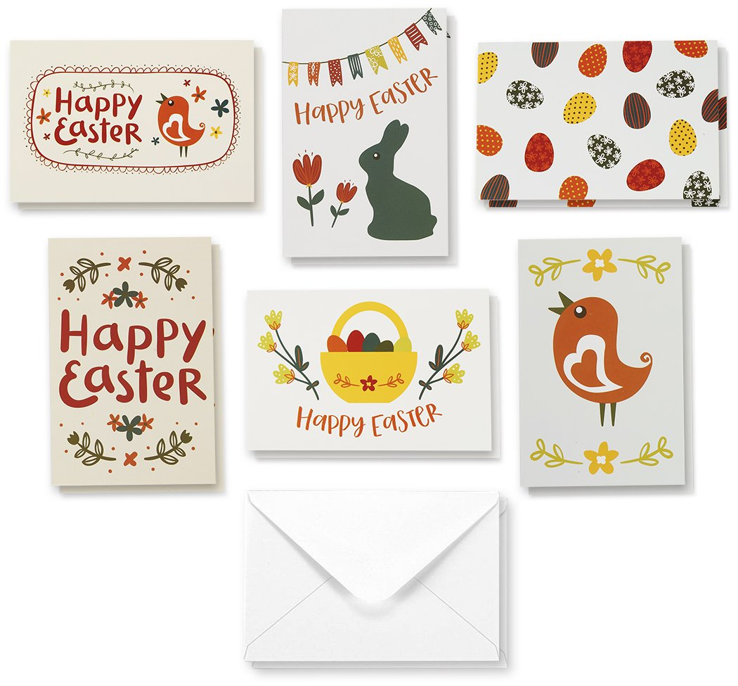 4 x 6 Inches 36-Pack Easter Greeting Cards Blank on the Inside Happy Easter Note Cards Easter Day Religious Cut Out Cross Designs Boxed Greeting Cards Assortment