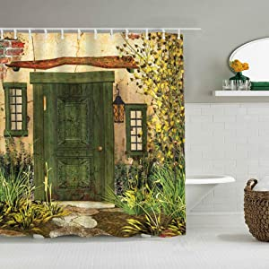 ALLMILL Shower Curtain Rustic Cottage Door Overgrown Bushes Grass Tree Garden Brick Fairytale Countryside Waterproof Bath Liners Hooks Included - 72 x 72 inches Bathroom Decorative Ideas