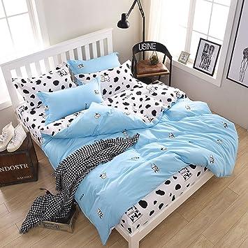 Libaoge 3 Piece Reversible Bed Sheets Set, Double Blue Small Cow Cartoon  Design, 1