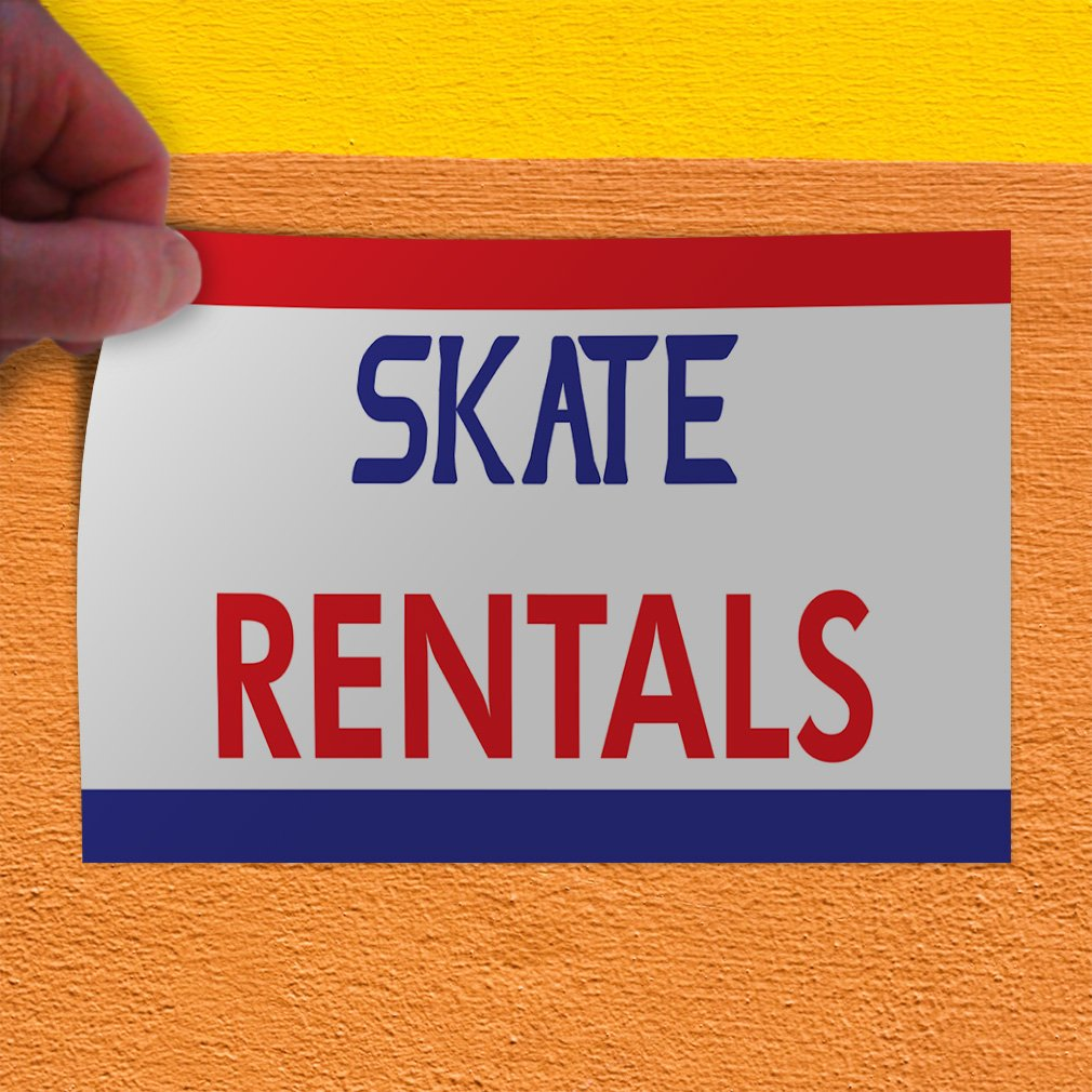 Set of 10 14inx10in Decal Sticker Multiple Sizes Skate Rentals Business Banners Skate Rentals Outdoor Store Sign White