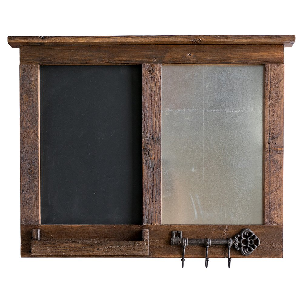 Drakestone Designs Handmade Chalkboard and Magnet Memo Board Combo Message Center with Mail Holder and Key Hooks | Solid Wood and Galvanized Metal | Wall Mount | Modern Farmhouse Decor | 24 x 30 Inch