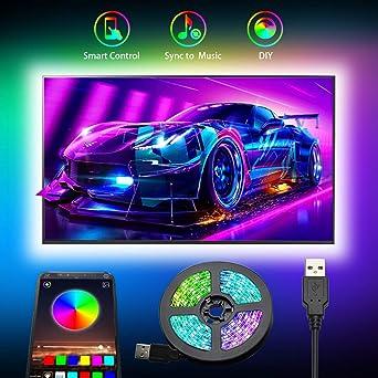Tiras LED TV, Romwish 3M Tira LED USB RGB con APP, 16 Millones Colores DIY 5050 SMD,Sincronización de música Iluminacion Luces LED TV Escenas para 40-60in HDTV/PC Monitor: Amazon.es: Iluminación
