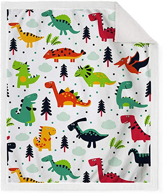 Dinosaur Blanket for Kids Cartoon Microfiber Jurassic Plush Sherpa Throw Bed Sof