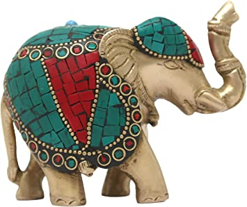 Brass Elephant Statue With Stone Work Home Decor Idol Elephant Statue Trunk Up Elephant   Good Luck Gifts Elephant Figurine