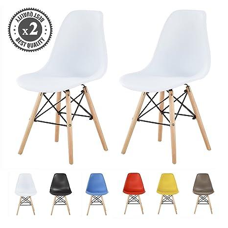 Mcc® LIA - Conjunto de 2 sillas de comedor de plástico de diseño retro modernas para cocina y comedor (Color Blanco)