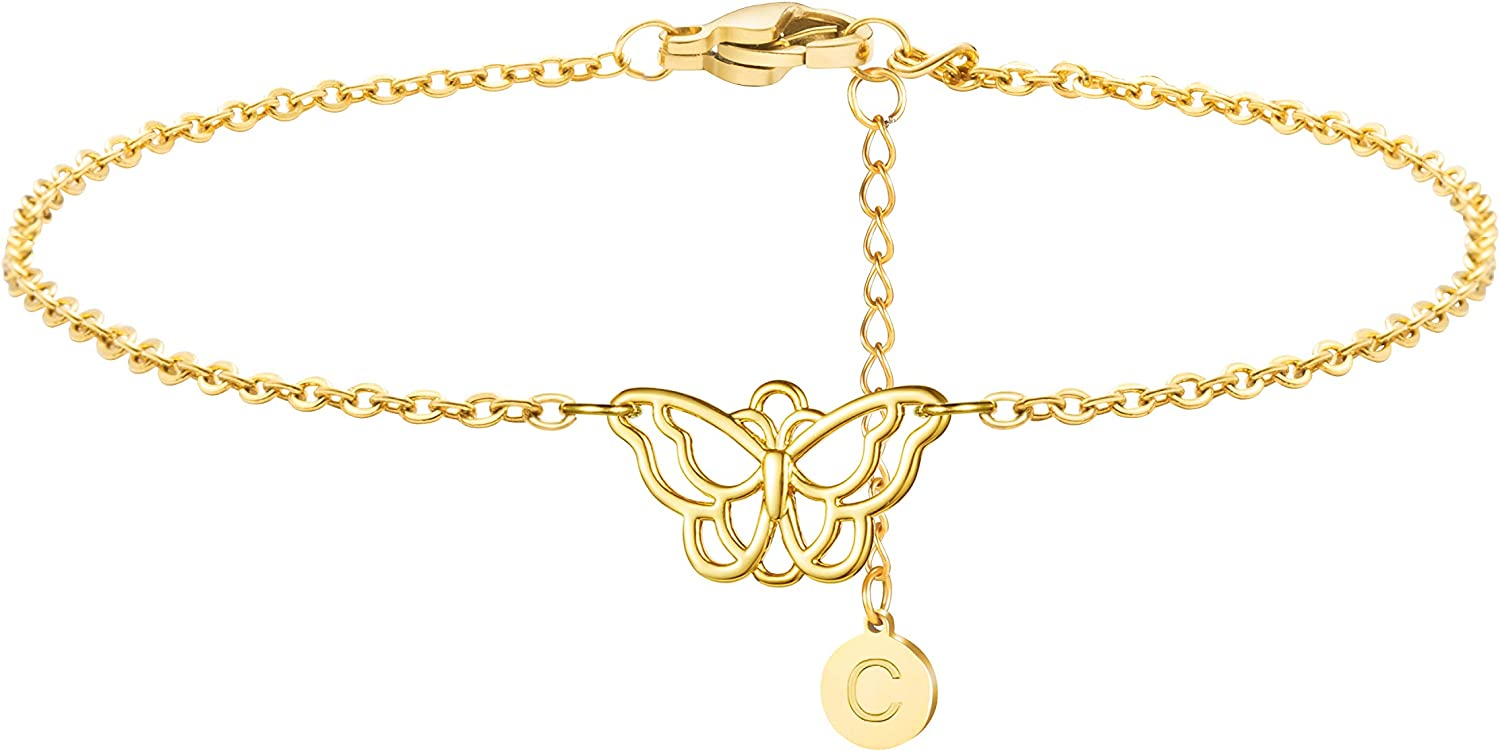 Butterfly Anklet Dainty 18K Real Gold Ankle Jewelry Personalized Initial Letter 26 Alphabets from A-Z Engraved Handmade Simple Fashion Trendy Unique Beach Gift Stainless Steel Anklets Bracelet