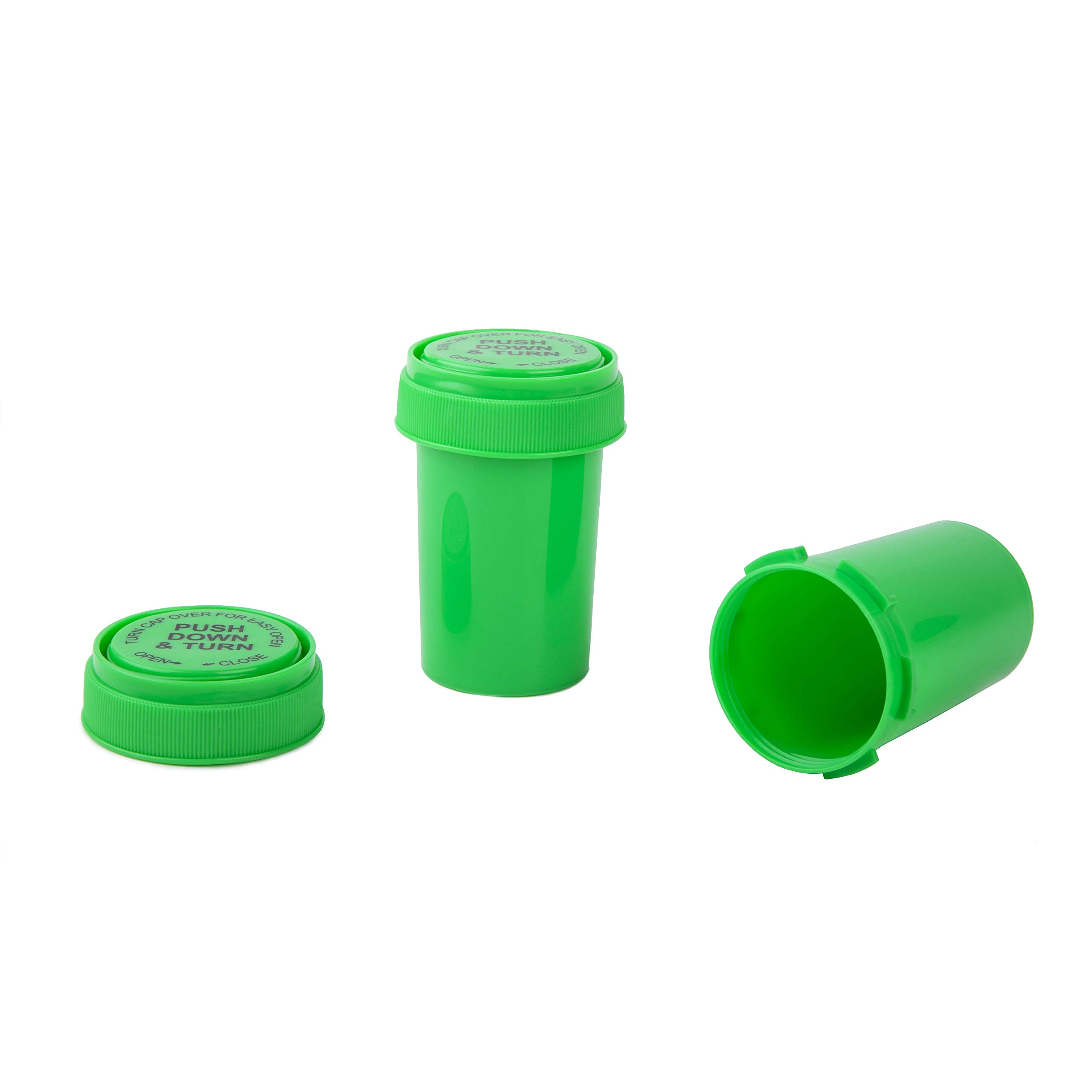 Loud Lock - Child Resistant Pop Top Vial Container Bottles - 20 Dram Size - 240 Count Case - (Green) by Loud Lock