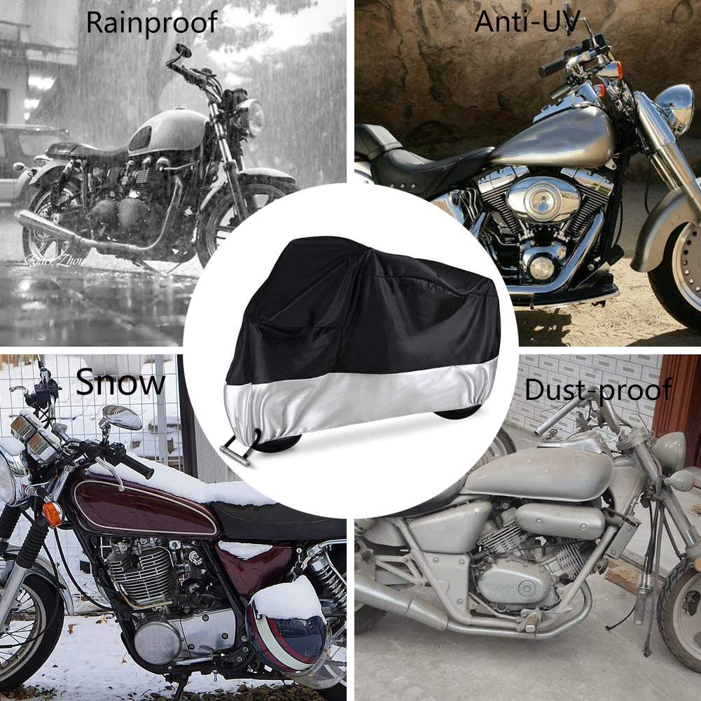 Evomosa Motorcycle Cover With Lock Hole All Season Outdoor Protection Scooter Cover Universal 96 inches or 104 inches Water-proof Dust-proof UV-proof Snow-proof