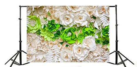 Amazoncom Yeele 10x8ft White And Green Rose Flower