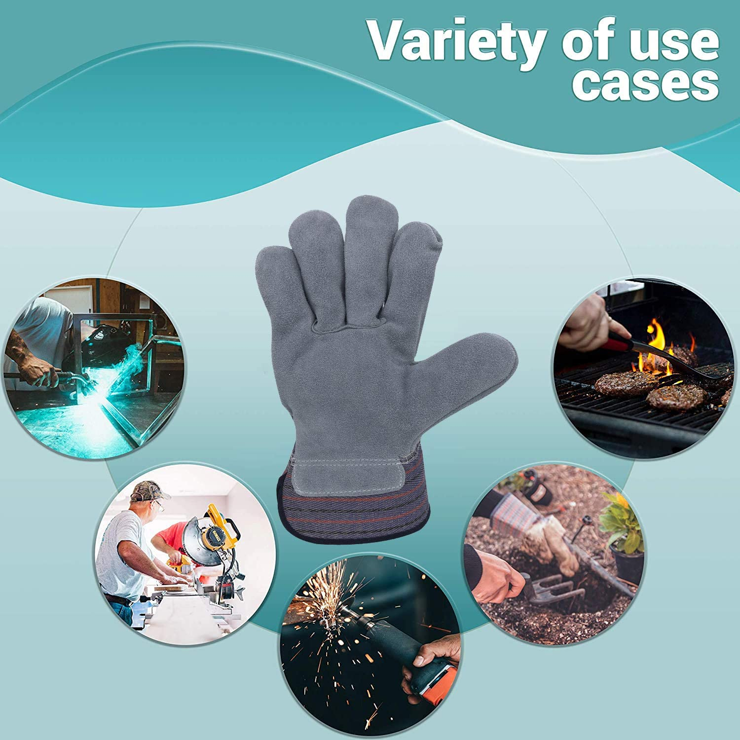 Cotton Canvas Gloves Baking. Medium Size Non-Slip Cotton Gloves Ideal for Welding Comfortable fit Grey Heat-Resistant Workwear Gloves for Man APQ Pack of 12 Standard Feature Hot Mill Gloves