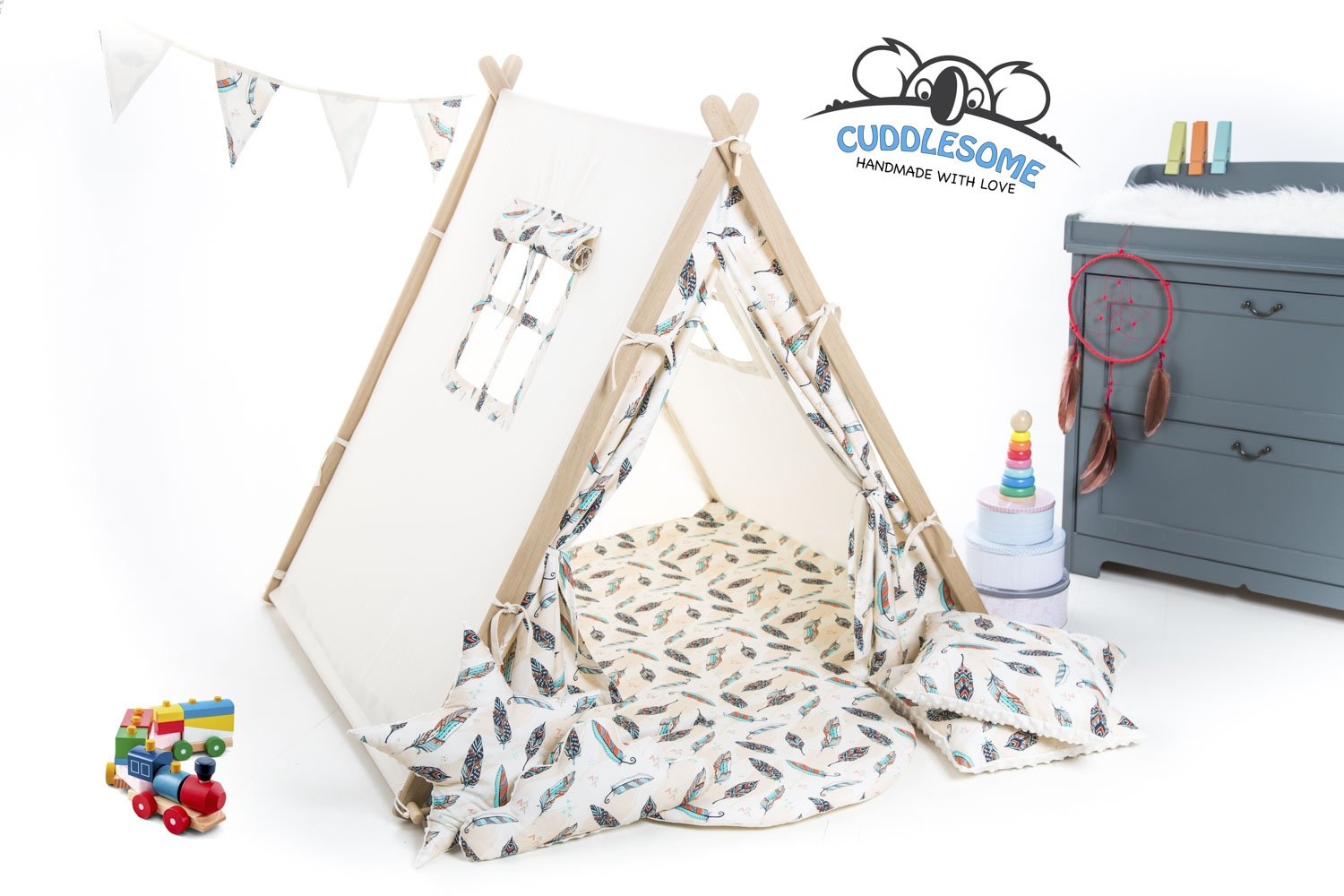 Cream feathers teepee tent playhouse for children by Cuddlesome