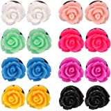 Aprilsky 8 Pairs Handcrafted Resin Mixed Colors Simulated Coral Rose Flower Earrings Studs,Stainless Steel 10mm