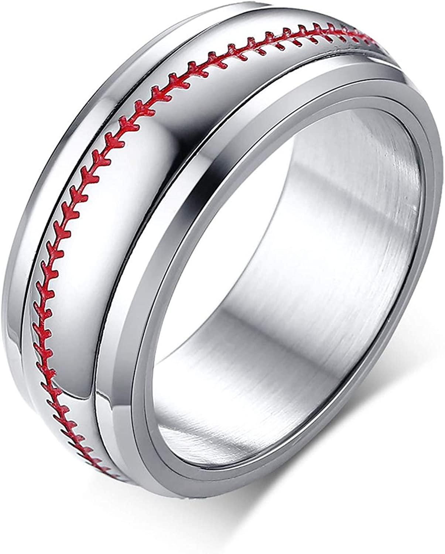 Tungsten Carbide Ring Baseball Sport Ball Stitch Design 8mm Polished Silver Band