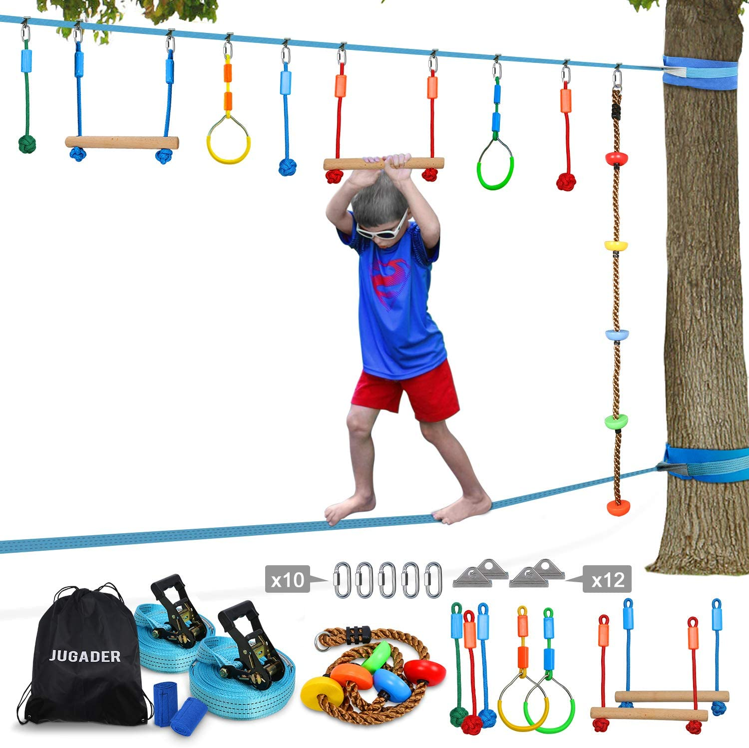Jugader Ninja Line Slackline, Upgraded Ninja Warrior Training Equipment for Kids with Slackline Kits, Obstacle Course for Home for Backyard, Safer ...