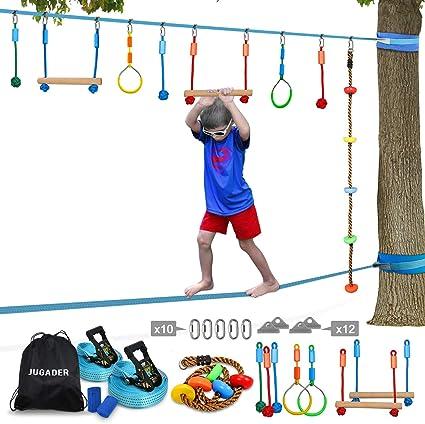 Jugader Ninja Line Slackline, Upgraded Ninja Warrior Training Equipment for Kids with Slackline Kits, Obstacle Course for Home for Backyard, Safer ...