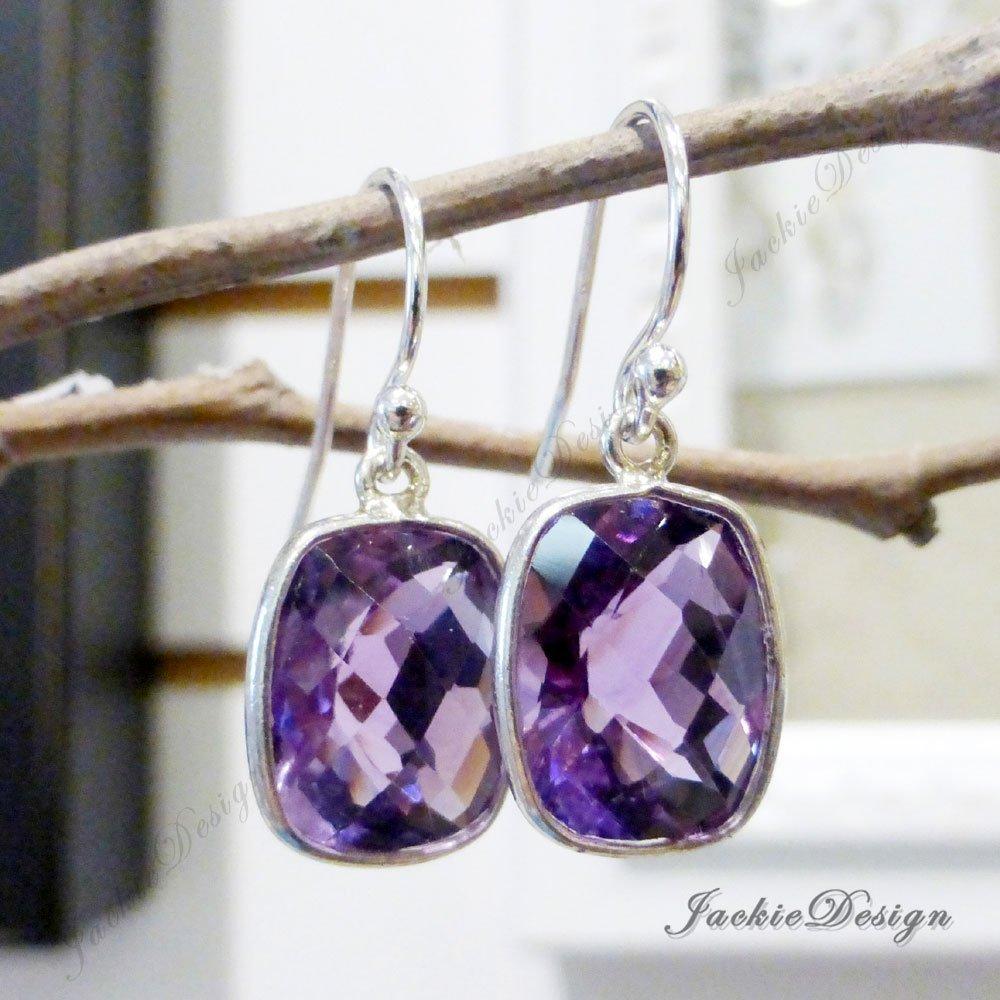 13b8498939f17 Amazon.com: Purple Amethyst Rectangle Drop Sterling Silver Earrings ...