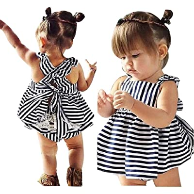 Creazy® 1Set Baby Girls Clothes Summer Sunsuit Infant Outfit Stripe Backless Dress Brief