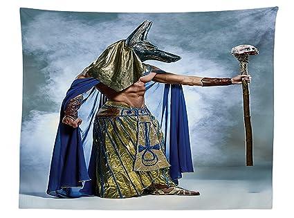 vipsung egipcio Decor Mantel con una máscara de faraón del Antiguo Egipto Anubis de niebla fondo