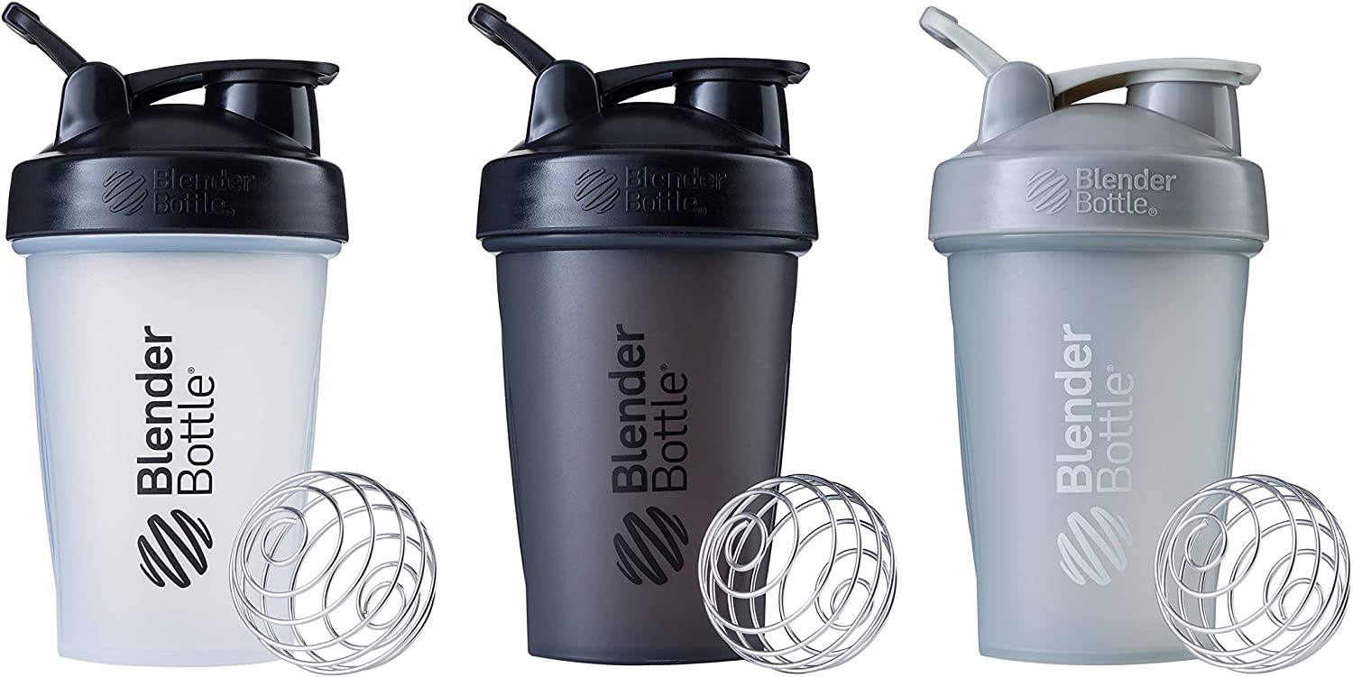 BlenderBottle Classic Loop Top Shaker Bottle, 20-Ounce 3-Pack, Clear/Black and Full Color Black and Pebble Grey