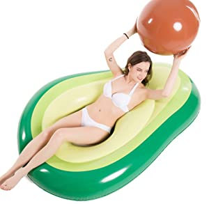 Jasonwell Inflatable Avocado Pool Float Floatie with Ball Water Fun Large Blow Up Summer Beach Swimming Floaty Party Toys Lounge Raft for Kids Adults