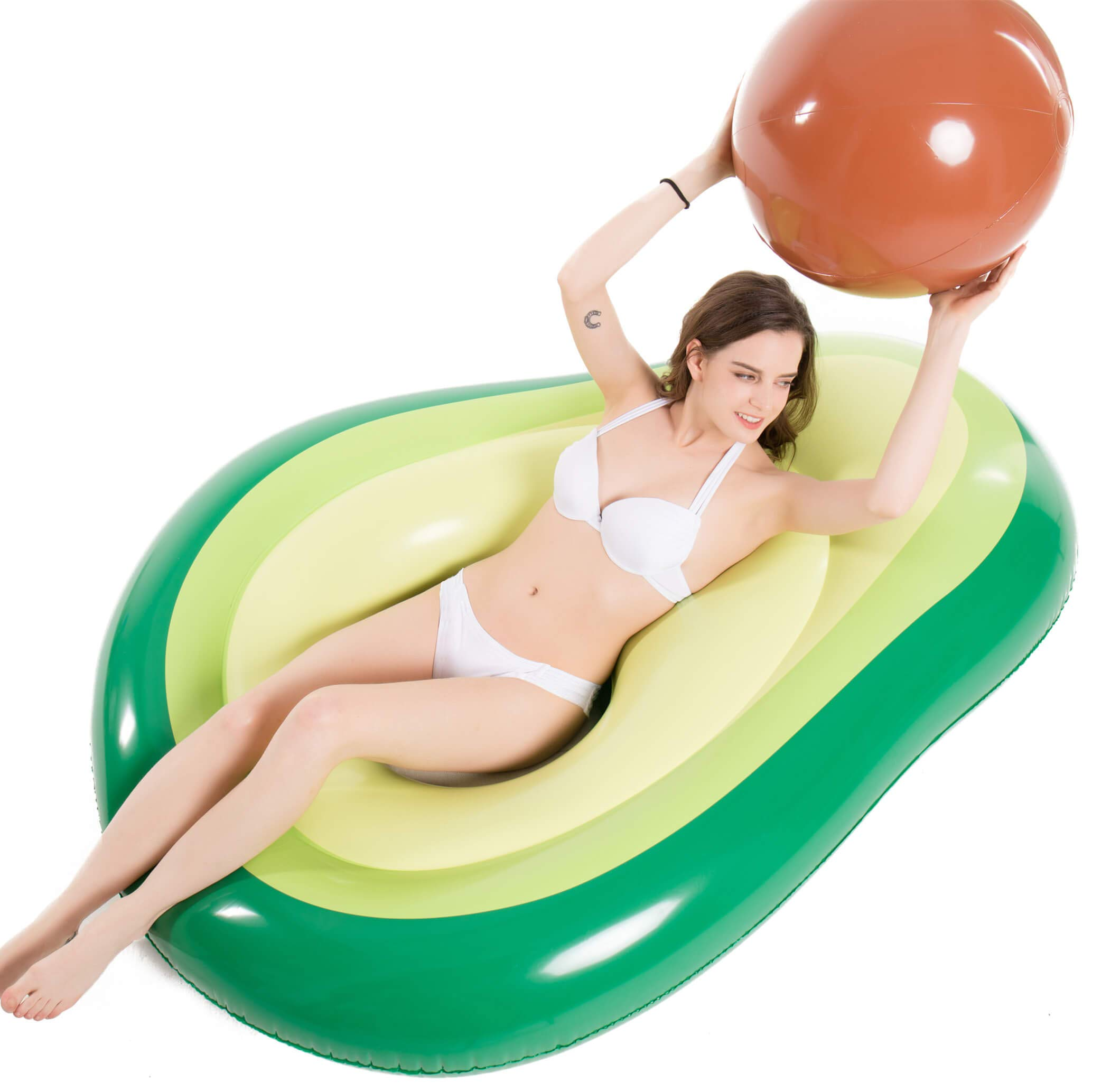 Jasonwell Inflatable Avocado Pool Float - Floatie with Ball Water Fun Large Blow Up Summer Beach Swimming Floaty Party Lounge Raft Kids Adults