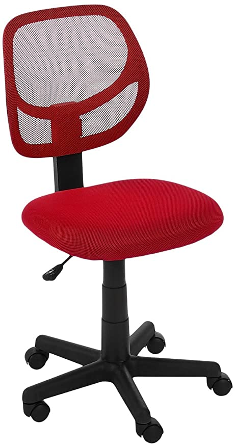 amazon com amazonbasics low back computer chair red kitchen dining