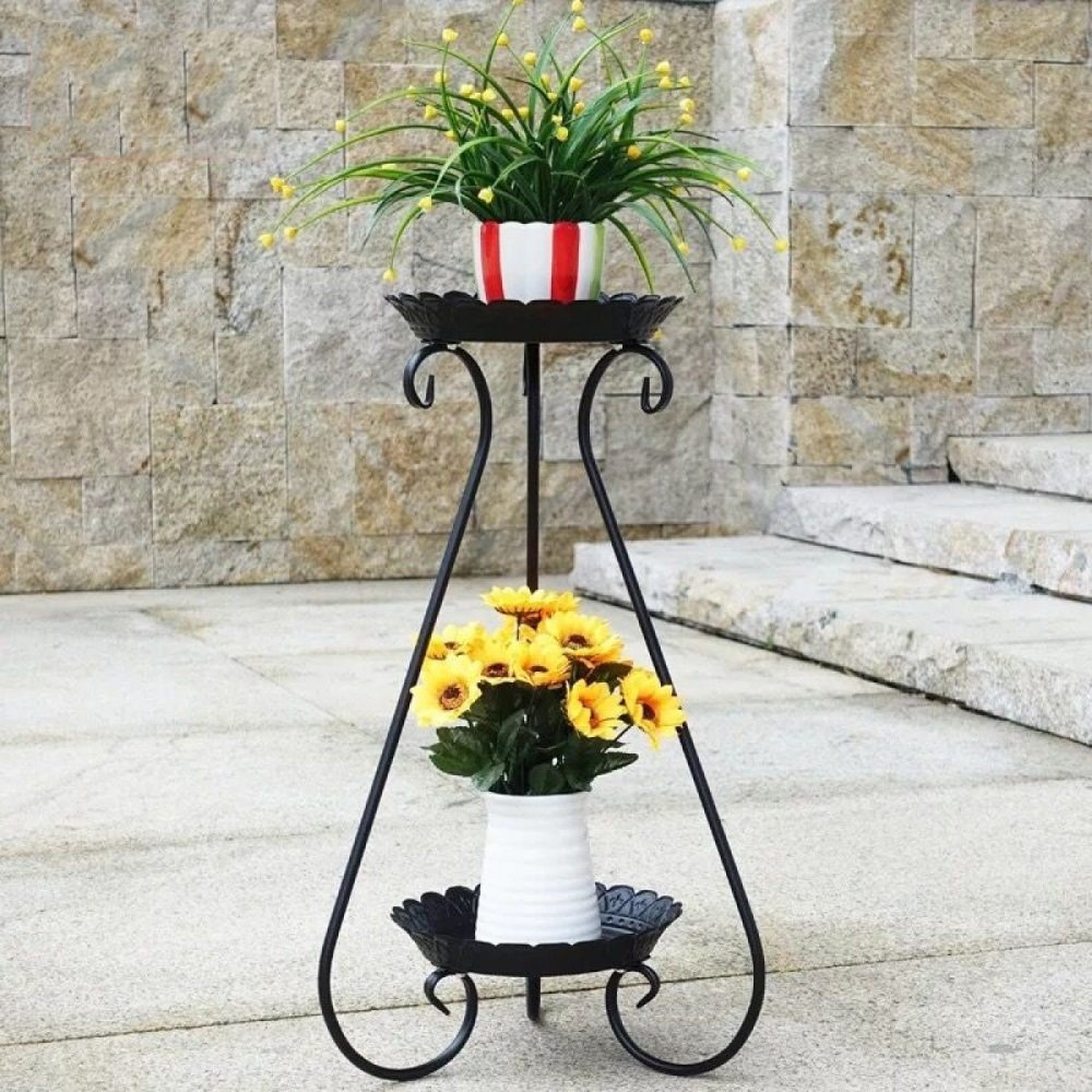 LIAN Fioriera europea, fioriera per interni e per esterni in ferro battuto 2 vasi da fiori per piante Porta piante Scaffali a pavimento Soggiorno Balcone Vaso per fiori