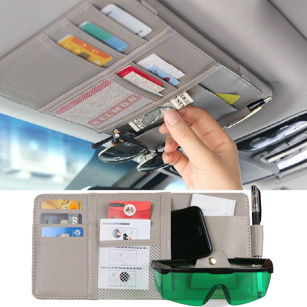 Black MRCARTOOL Car Sun Visor Organizer,Auto Interior Pocket Sunglass Pen Holder Parking Fuel Card Change Storage 30x14cm