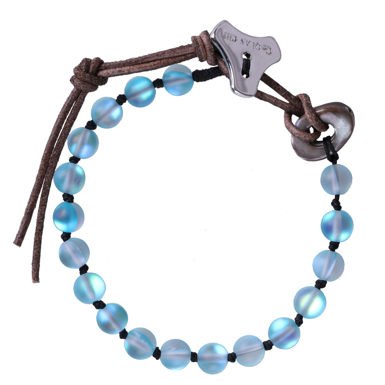 C·QUAN CHI Women Bracelet Moonstone Jewelry Gem Semi Precious Gemstone Strand Bracelet Charm Adjustable Beaded Bracelet Women Gifts Women Girls