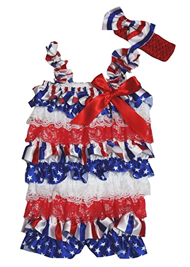 94820f4d300f Petitebella 4th July Striped Stars Red White Blue Baby Lace Romper Nb-36m  (Small