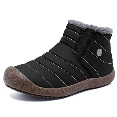 Men Waterproof Snow Boots Winter Fur Lining Slip-On Ankle Sneakers Short Hiking booties