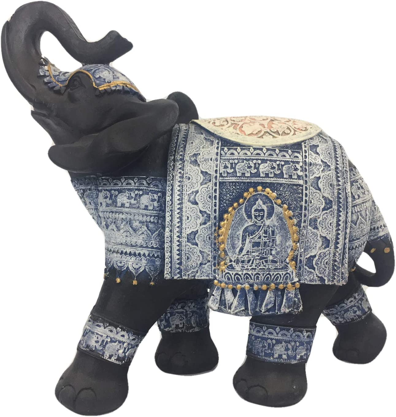 Hope Brands Thai Black Elephant Statue Figurine Polystone Covered with Delicate Ornate Buddhist Caparison - Large 10 x 9 x 5 (Blue)