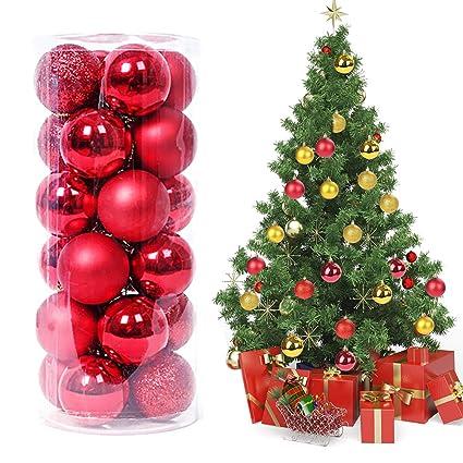 Immagini Palle Di Natale.Magicfun 24pcs Ornamenti Palla Di Natale Infrangibili Palle Di Natale Decorazioni Albero Piccolo Per Festa Di Nozze Decorazioni Natalizie Rosso