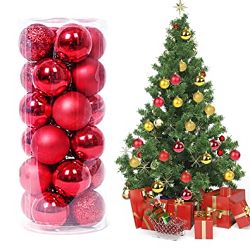 ee62e2e5ee8 Magicfun 24 Piezas Bolas de Navidad Adornos de Bola de Navidad  Inastillables Brillante árbol de Navidad Colgantes Decorativos para Colgar  Bolas de Navidad ...