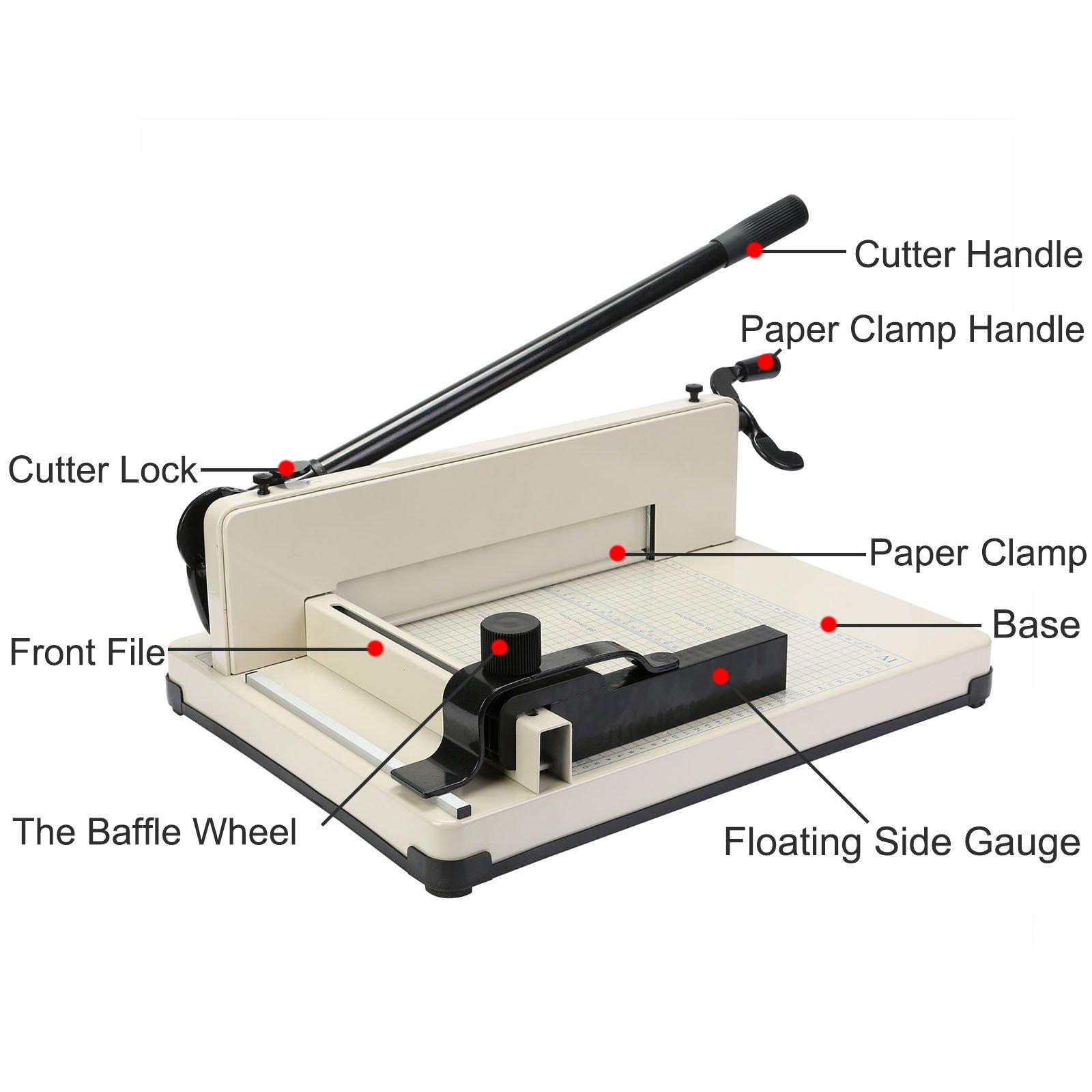 Superland 12 Inch A4 Paper Cutter Capacity 80g 400 Sheet Capacity Industrial Paper Cutter Commercial Metal-Base A3 Trimmer (858-A4 Manual)