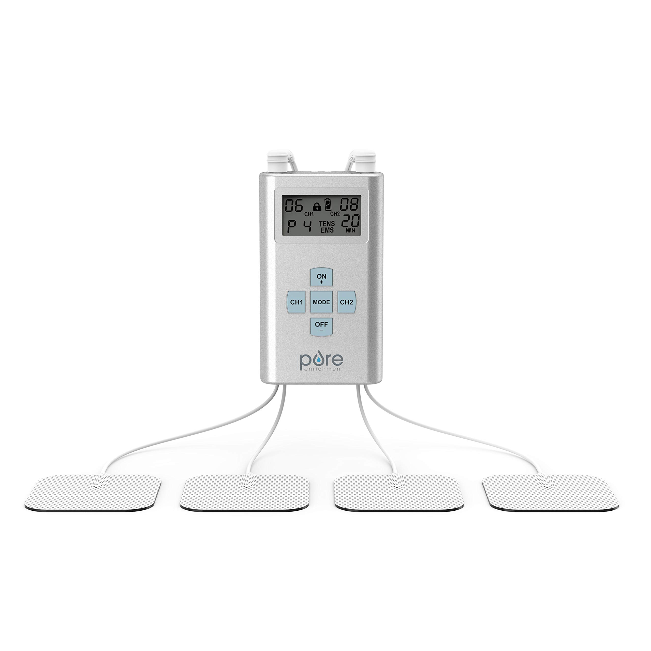 Pure Enrichment PurePulse Pro Advanced TENS Device with LCD Display, 8 Therapy Programs, 25 Pulse Settings, Adjustable Timer and 2 Channels - Includes 2 AAA Batteries, 4 Electrode Pads and Storage Bag