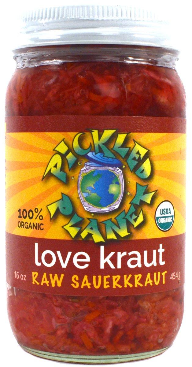 Organic Raw Sauerkraut, ''Love Kraut'' Variety, 16 Oz Glass Jar