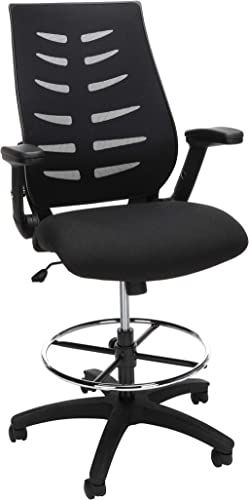 OFM Core Collection Mid Back Mesh Drafting Chair, Drafting Stool, with Lumbar Support, in Black 531-BLK
