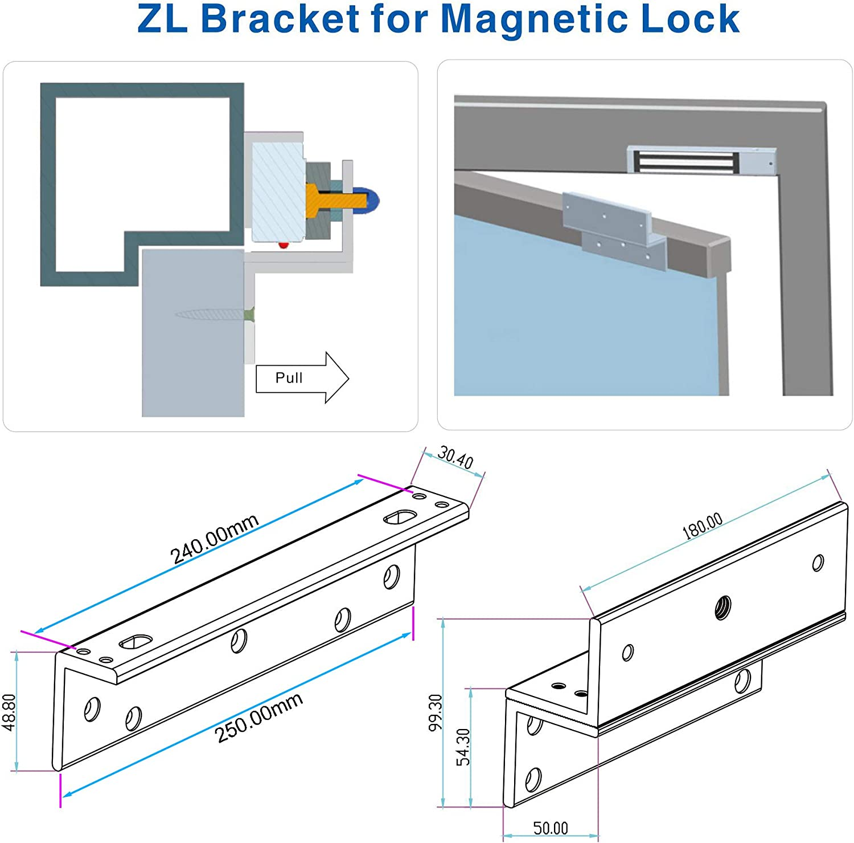 YAVIS Z /& L ZL Soporte Abrazadera para 180 kg 350Libras de Fuerza de sujeci/ón de Bloqueo magn/ético el/éctrico para Puerta de Control de Acceso hacia adentro