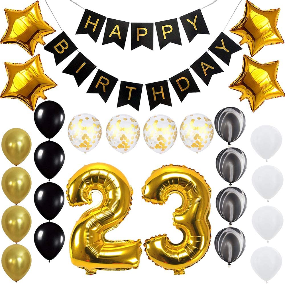 Happy 12rd Birthday Banner Balloons Set for 12 Years Old Birthday Party  Decoration Supplies Gold Black