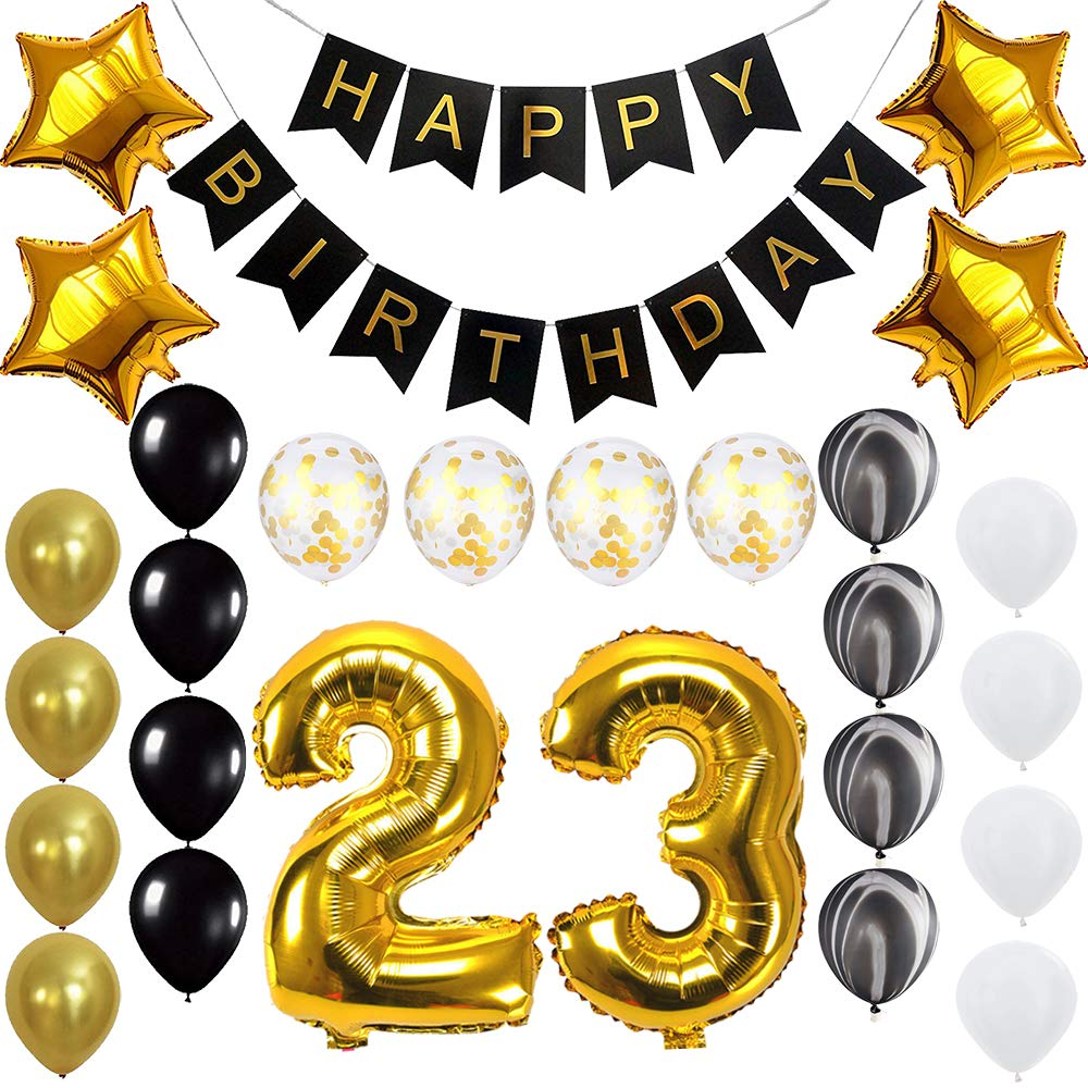 Amazon Happy 23rd Birthday Banner Balloons Set For 23 Years Old Party Decoration Supplies Gold Black Health Personal Care