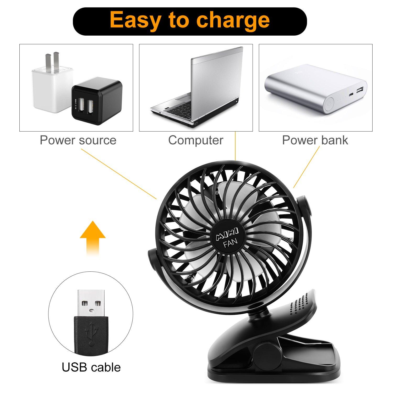 ESEOE Clip on Fan, USB Or 2600mAh Rechargeable Battery Operated Fan Small Desk Fan with 4 Speeds, 360 Degree Rotation Portable Stroller Fan for Baby S (Black) by ESEOE (Image #5)