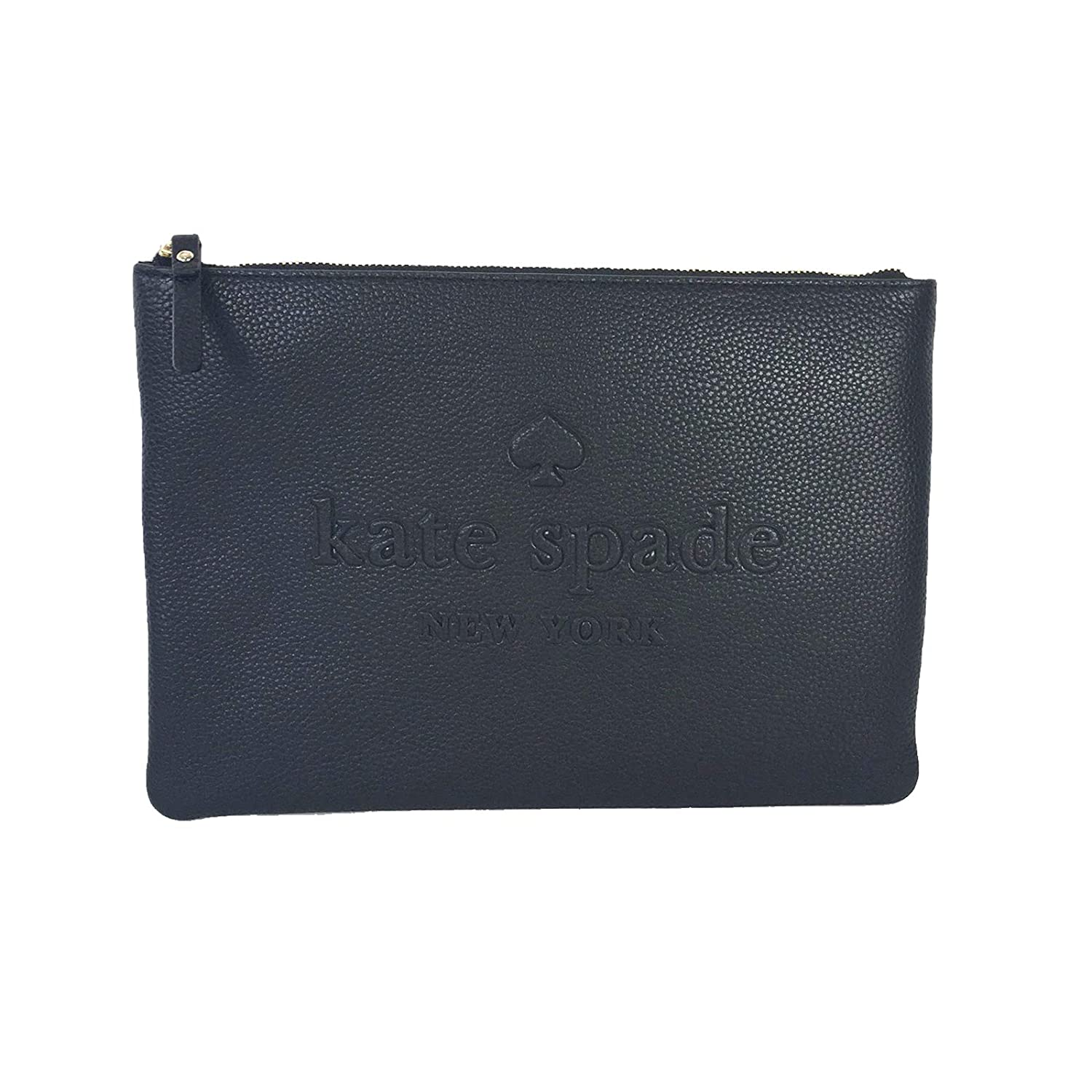 Kate Spade Gia Large Pouch Soft Pebbled Leather Logo Embossed Clutch Bag Black