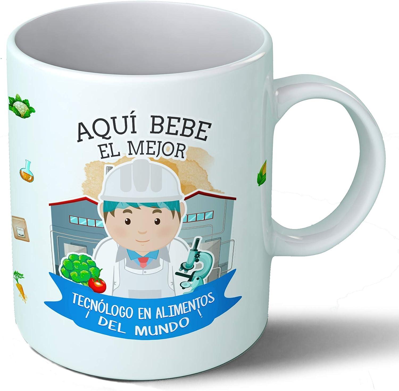 Planetacase Taza Desayuno Aquí Bebe el Mejor tecnologo en Alimentos del Mundo Regalo Original Ceramica 330 mL ...