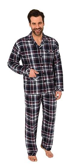 Normann Copenhagen Herren Flanell Pyjama Schlafanzug zum durchknöpfen - auch in Übergrößen 281 101 95 647