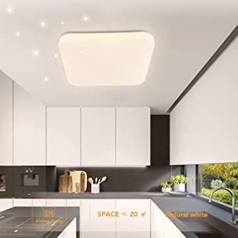 Deckenleuchte LED Badezimmer Küche Schlafzimmer Deckenleuchten Wohnzimmer  Korridor Balkon Flur Bad Deckenlampe Natürliches Weiß 4000K Moderne ...