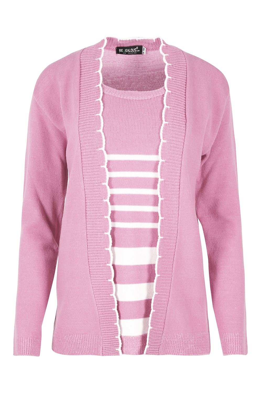 Womens Long Sleeve Stripe Sweater Insert Knitted Cardigan Ladies