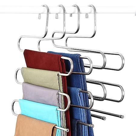 4 Pack pantalones percha, elover S-Type Multi capas Magic de acero ...