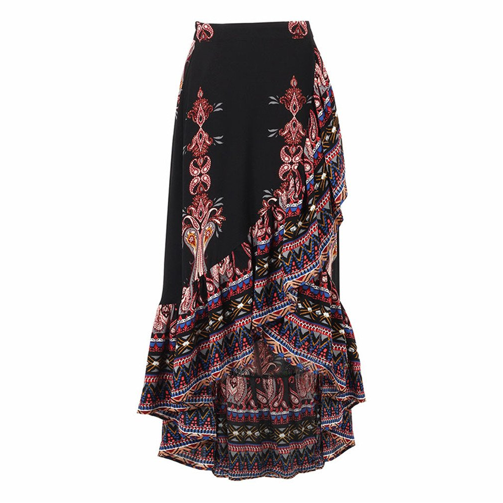 Beachfavora Printed Chiffon Long Skirt Asymmetrical Ruffle Skirt High Waist Elastic Skirt